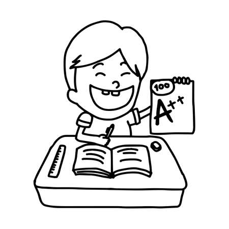 happy boy presenting with a good grade - illustration vector doodle hand drawn, isolated on white background
