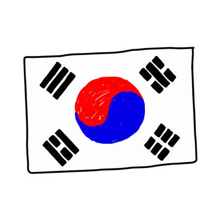 south korea flag - illustration vector doodle hand drawn, isolated on white background