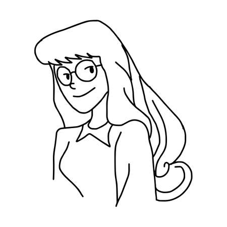 long hair woman with glasses - illustration vector doodle hand drawn, isolated on white background