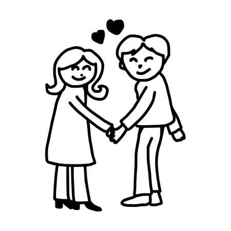 Joven pareja en el amor la celebración de las manos con el corazón en el medio - ilustración vectorial doodle mano dibujado, aislado en fondo blanco