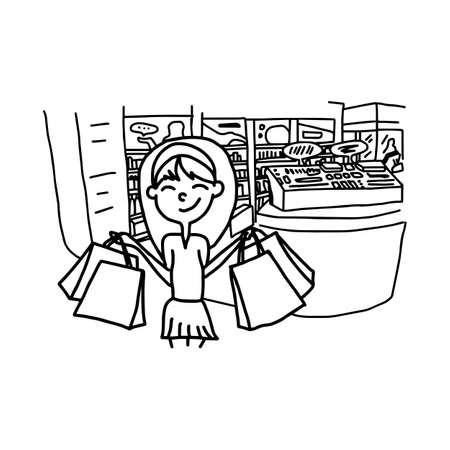 happy shopping girl in department store - illustration vector doodle hand drawn, isolated on white background