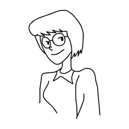 short hair woman with glasses - illustration vector doodle hand drawn, isolated on white background