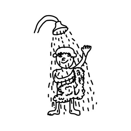 Man washing himself with soap in shower - illustration vector doodle hand drawn, isolated on white background