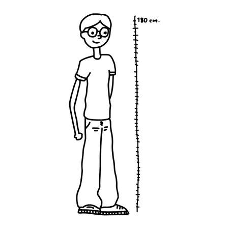 tall man - illustration vector doodle hand drawn, isolated on white background