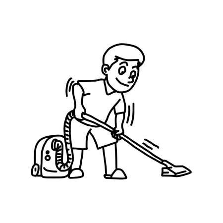 Homme à l'aide d'un aspirateur - illustration vectorielle doodle dessinés à la main, isolé sur fond blanc