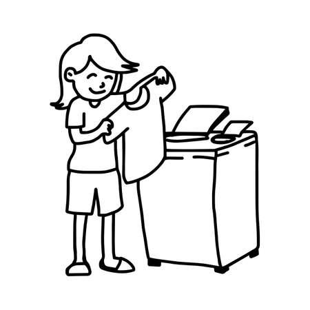 man using washing machine and holding t-shirt - illustration vector doodle hand drawn, isolated on white background