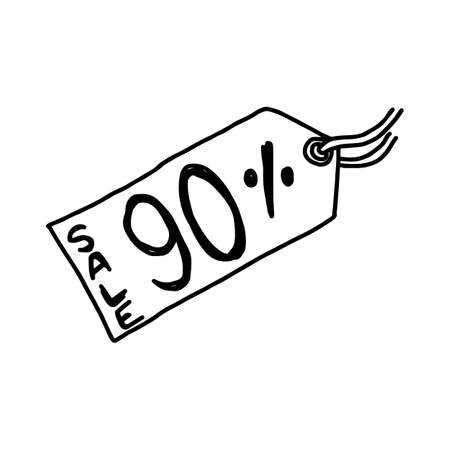 90% sale price tag sign icon. Discount symbol. - illustration vector doodle hand drawn, isolated on white background