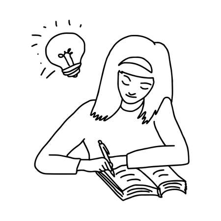smart girl do homework with a book on a desk and lighten bulb on her head - illustration vector doodle hand drawn, isolated on white background Illustration