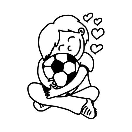 fondness: boy hugging soccer ball with love - illustration vector doodle hand drawn, isolated on white background