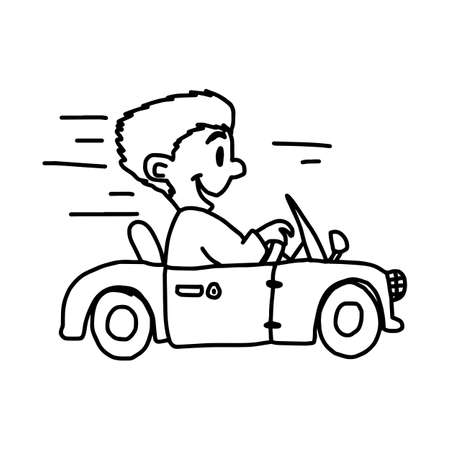 smiling businessman driving convertible or cabriolet car - illustration vector doodle hand drawn, isolated on white background