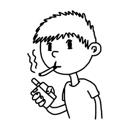 little boy smoking cigarette- illustration vector doodle hand drawn, isolated on white background Vector Illustration