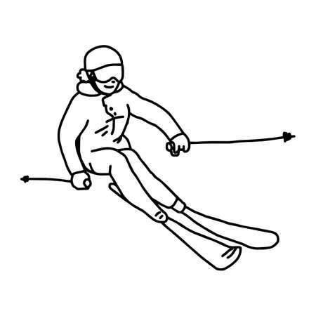 Mountain skier - vector illustration sketch hand drawn with black lines, isolated on white background