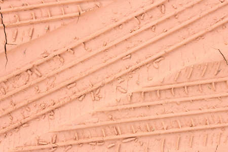 sandy soil: Trace from a protector of an automobile wheel on the ground.