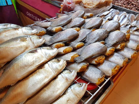 dried fish sold in supermarket Stock Photo