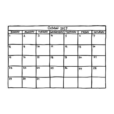 カレンダー 2017年 10 月 - ベクトル図のスケッチ、白い背景で隔離の黒い線で描かれた手  イラスト・ベクター素材