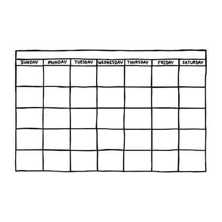 lege kalender - vector illustratie schets hand getekend met zwarte lijnen, geïsoleerd op een witte achtergrond