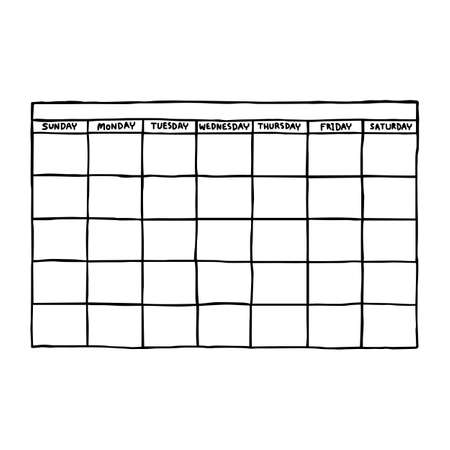 blank calendar - vector illustration sketch hand drawn with black lines, isolated on white background