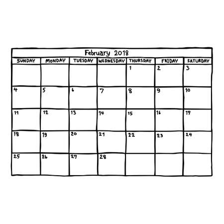 calendar February 2018 - vector illustration sketch hand drawn with black lines, isolated on white background