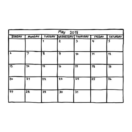 Kalender mei 2018 - vector illustratie schets hand getekend met zwarte lijnen, geïsoleerd op een witte achtergrond Stockfoto - 73472973