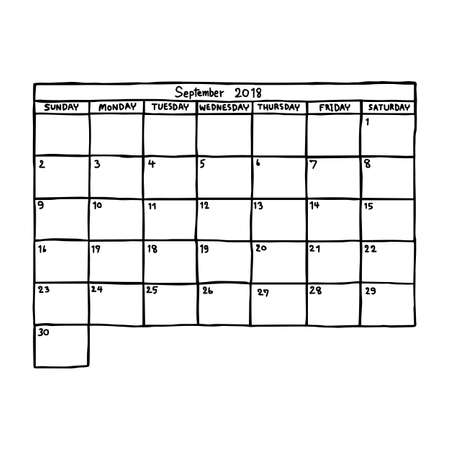 calendar September 2018 - vector illustration sketch hand drawn with black lines, isolated on white background