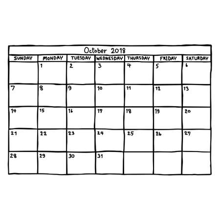カレンダー 2018年 10 月 - ベクトル図をスケッチ、白い背景で隔離の黒い線で描かれた手  イラスト・ベクター素材