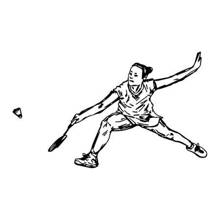 プロのバドミントン選手のスマッシュ ショット - ベクトル図のスケッチを行う手描画に孤立した白い背景