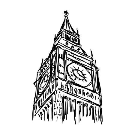 big ben - vector illustration sketch hand drawn isolated on white background Illustration