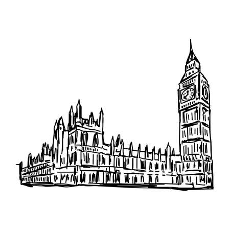 Big Ben and House of Parliament - vector illustration sketch hand drawn isolated on white background Illustration