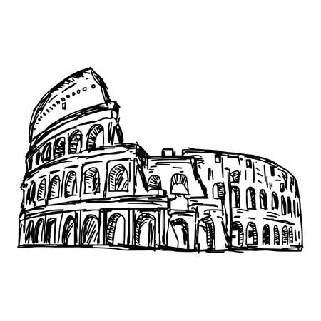 colosseo: colosseum - vector illustration sketch hand drawn isolated on white background