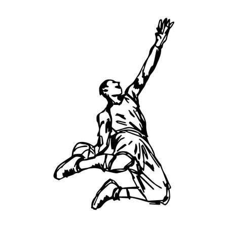 Basketball player making slam dunk - vector illustration sketch hand drawn isolated on white background Illustration