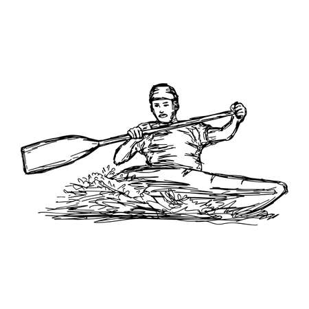 CANOE SLALOM player - vector illustration sketch hand drawn with black lines, isolated on white background Illustration