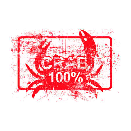 crab legs: Crab 100 percent - red rubber grungy stamp in rectangular with dirty background vector illustration