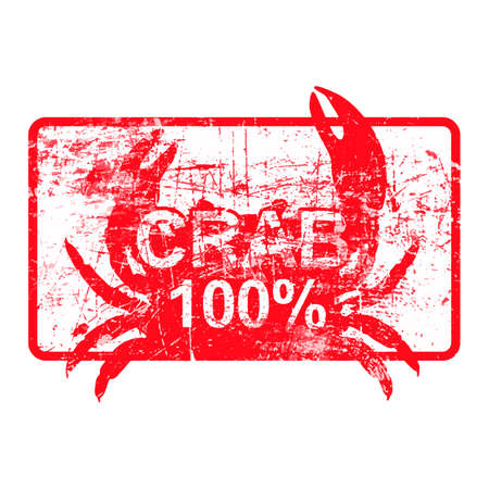 crab legs: Crab 100 percent - red rubber dirty grungy stamp in rectangular vector illustration
