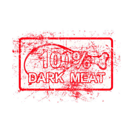 per cent: 100 per cent dark meat -  red rubber grungy stamp in rectangular with dirty background vector illustration