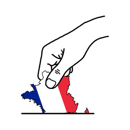 Hand voting with franch map with color flag color vector illustration