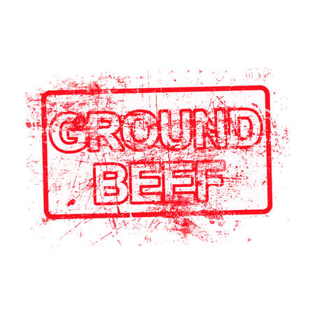 ground beef: ground beef - red rubber grungy stamp in rectangular with dirty background vector illustration isolated