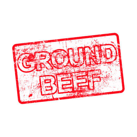 ground beef: ground beef - red rubber dirty grungy stamp in rectangular vector illustration isolated