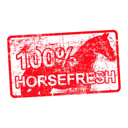 per cent: 100 per cent horsefresh - red rubber dirty grungy stamp in rectangular vector illustration isolated