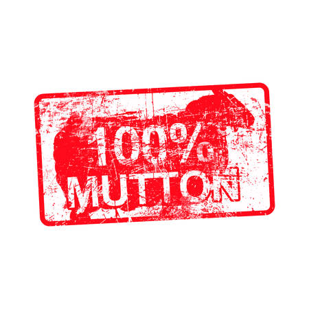 100 per cent mutton - red rubber dirty grungy stamp in rectangular vector illustration isolated