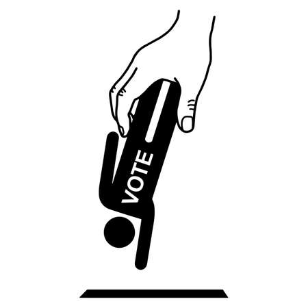 hand holding paper: Hand put man sign with word VOTE into the box hole vector illustration