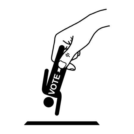 polling booth: Hand put man sign with word VOTE into the box hole vector illustration