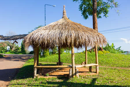 Beautiful wooden hut of hill tribe tradition on the north of Thailand Stock Photo