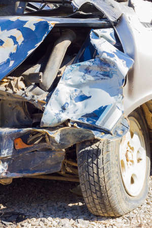 careless: CHIANG RAI, THAILAND - NOVEMBER 13 : close-up broken blue car from accident in sunshine on November 13, 2014 in Chiang rai, Thailand. Editorial