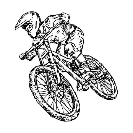 cycling mountain bike - vector illustration sketch hand drawn with black lines, isolated on white background