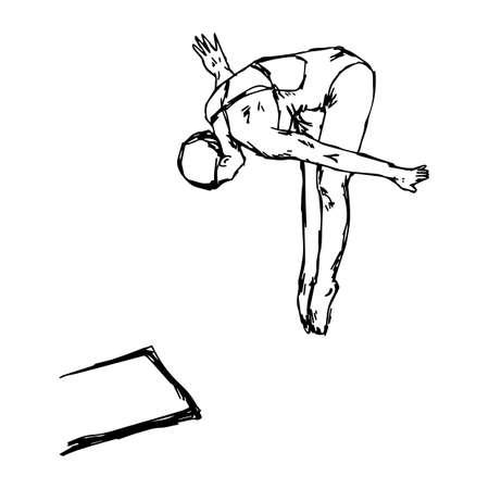 Een duiksport - vector illustratie schets hand getekend met zwarte lijnen, geïsoleerd op een witte achtergrond Vector Illustratie