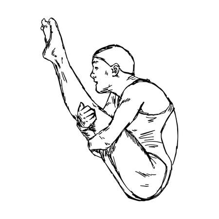 diving jumping sport - vector illustration sketch hand drawn with black lines, isolated on white background