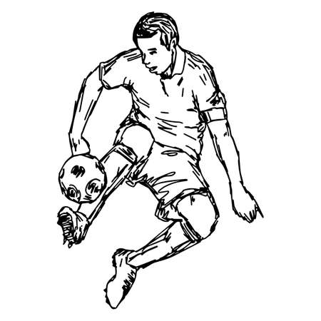 soocer player kicking ball - vector illustration sketch hand drawn with black lines, isolated on white background Illustration