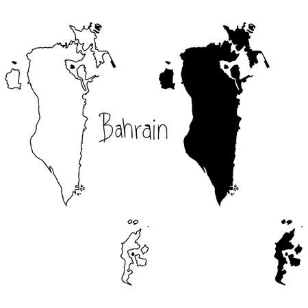 outline and silhouette map of Bahrain - vector illustration hand drawn with black lines, isolated on white background