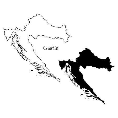 outline and silhouette map of Croatia - vector illustration hand drawn with black lines, isolated on white background