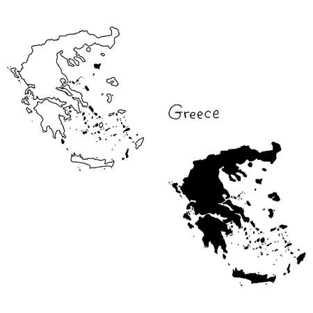 outline and silhouette map of Greece - vector illustration hand drawn with black lines, isolated on white background